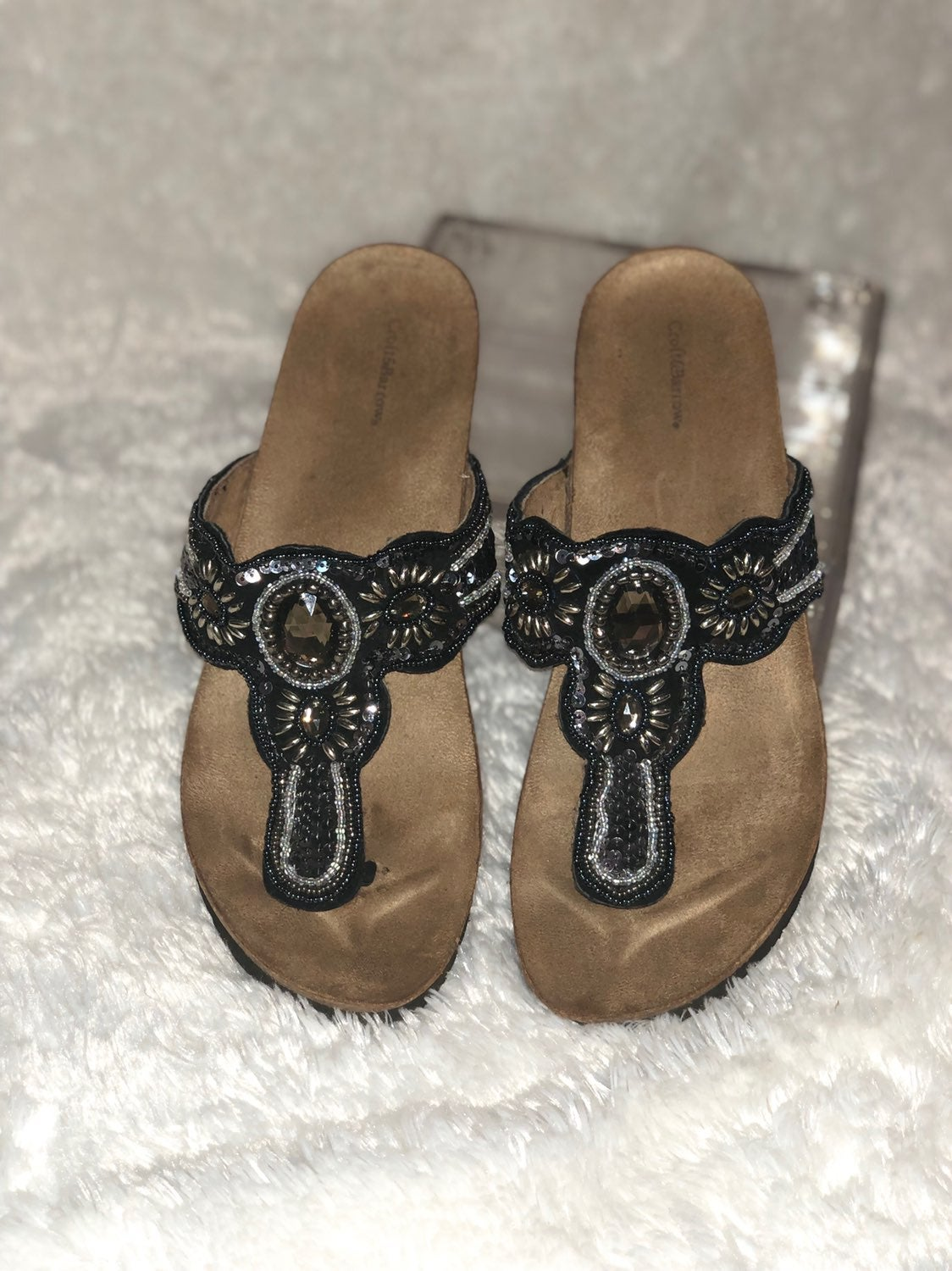Sequined & Jeweled Sandals, Size 8