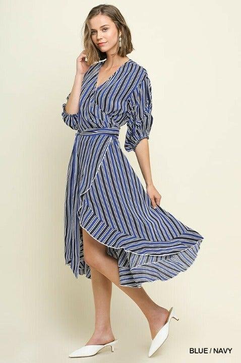 XL BLUE/NAVY stripe Wrap Tie MIDI DRESS
