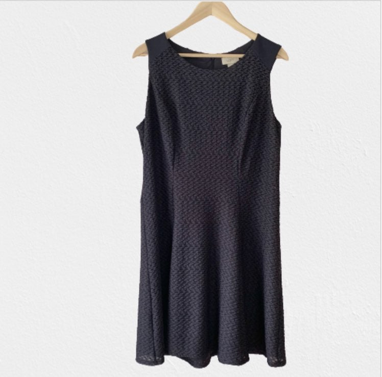 Loft Navy Blue Fit and Flare Dress -14