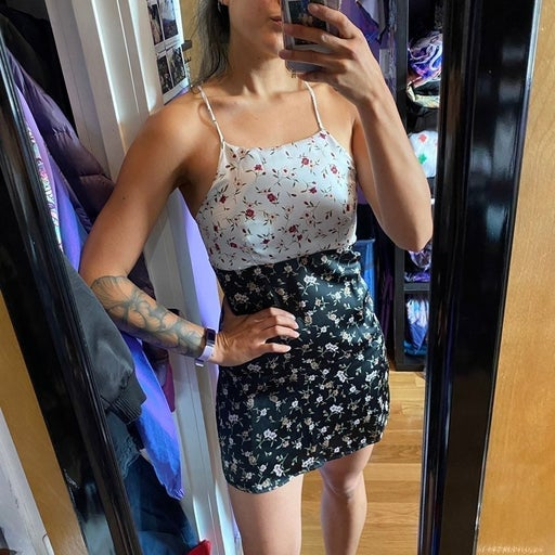 Floral two tone dress