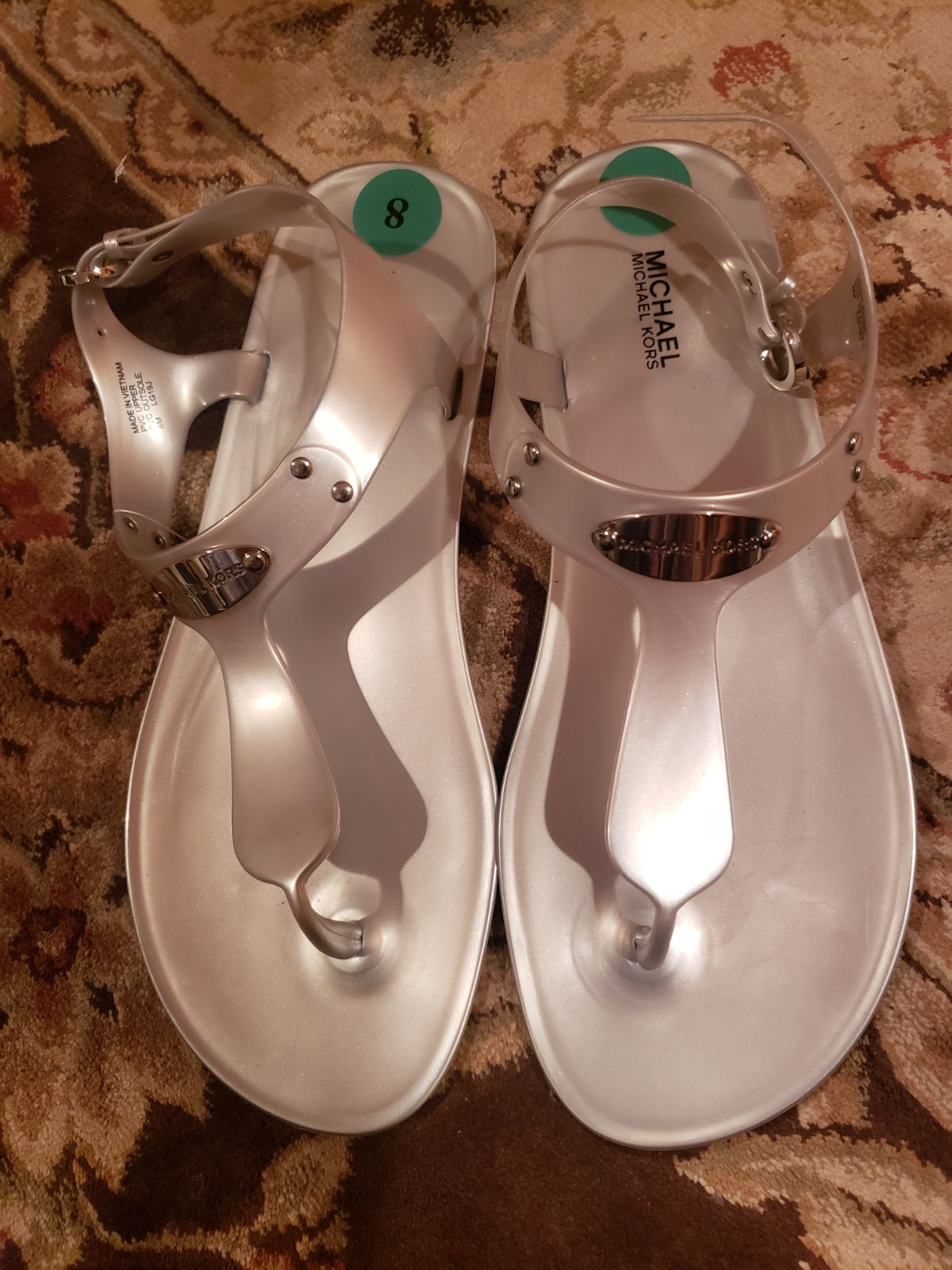 Michael Kors Silver Jelly Sandals Logo 8