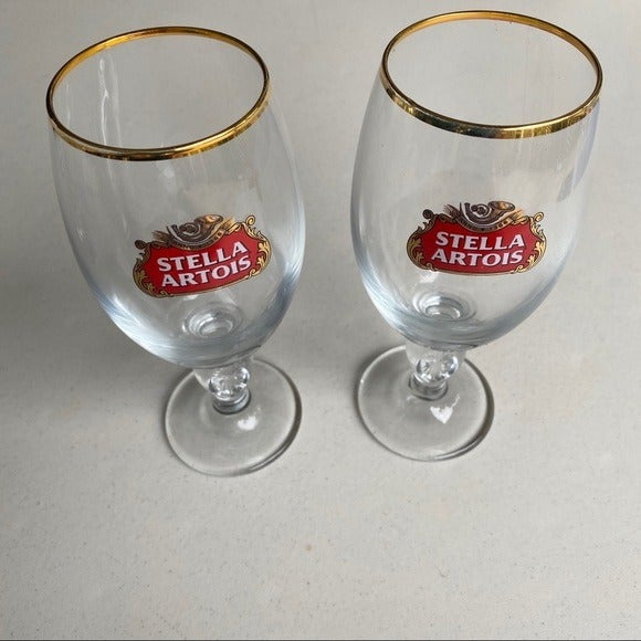 Set of two stella artois beer glasses