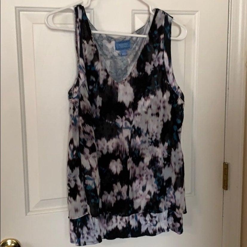 Layered draping sleeveless tank top