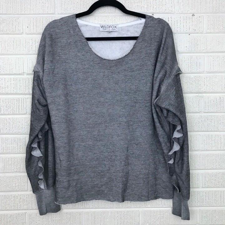 Wildfox Gray Adri Ruffle Sweatshirt