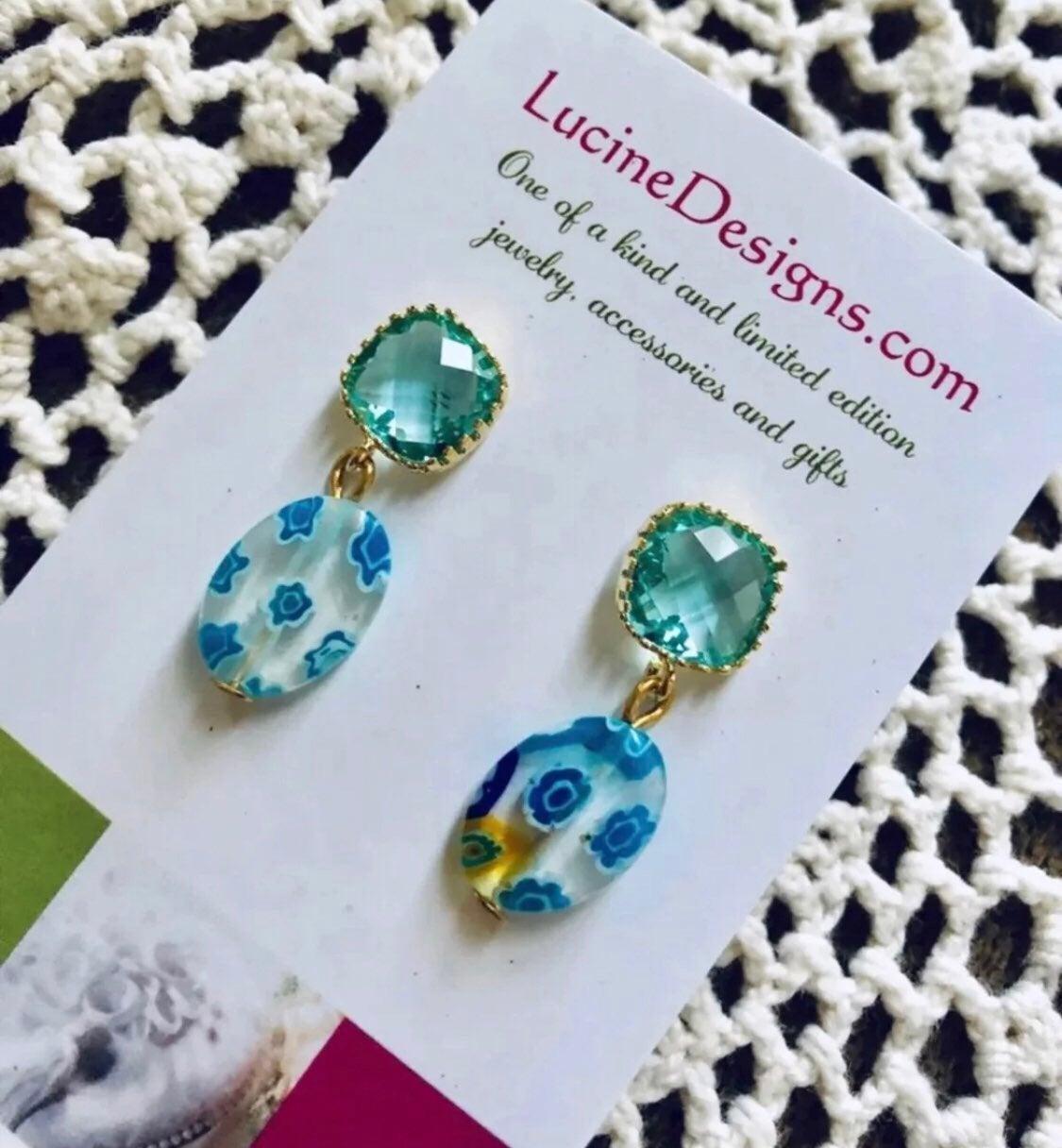 Blue Earrings, lampwork glass - new