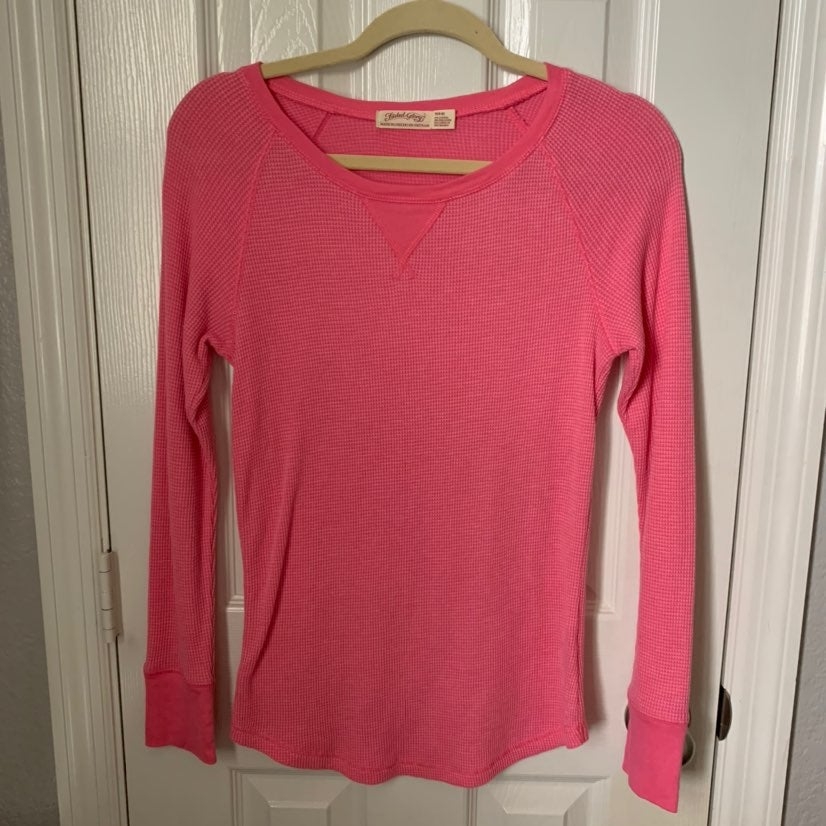 2 Long Sleeve Thermal Waffle Women Tops