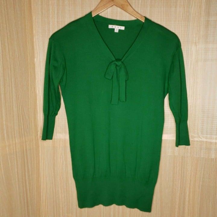 Cabi Green 3/4 Sleeve V-neck Sweater XS