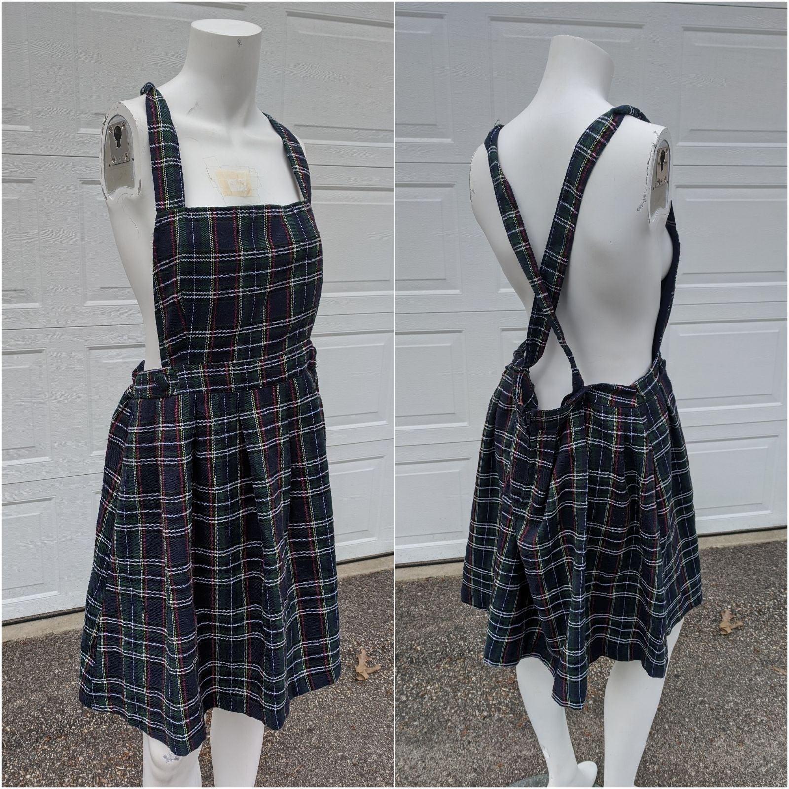 ModCloth Plaid Overall Jumper Dress