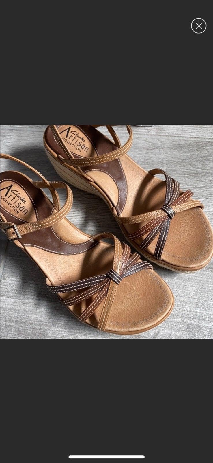 CLARKS Cashmere Twill Wedge Sandals