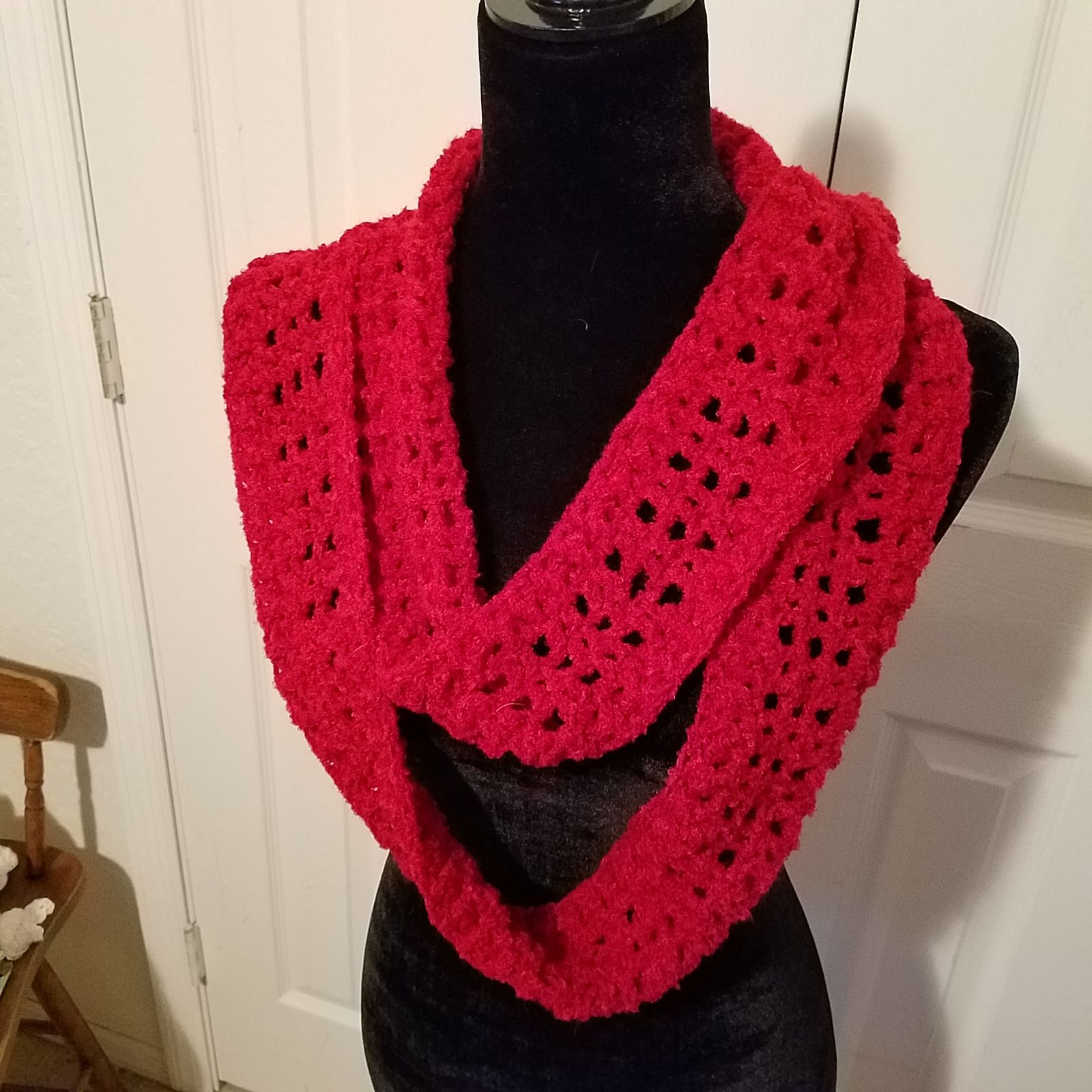 Red Boucle handcrafted infinity scarf