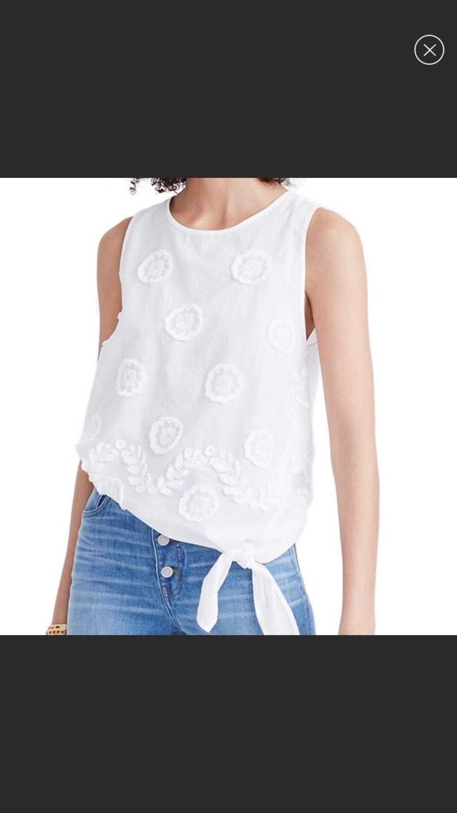 NWT Madewell Embroidered Side Tie Tank
