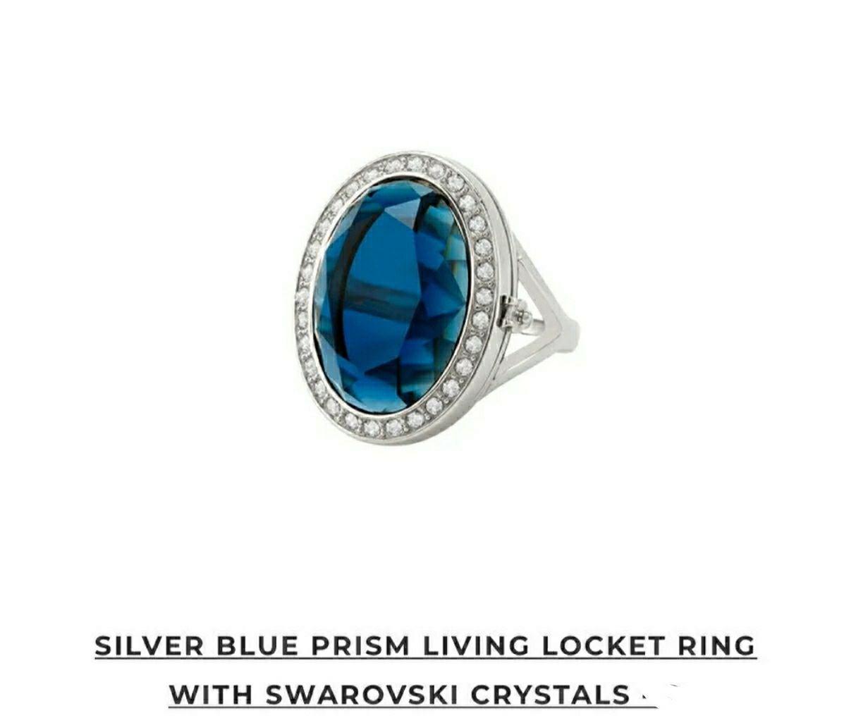 Silver Blue Prism Living Locket Ring