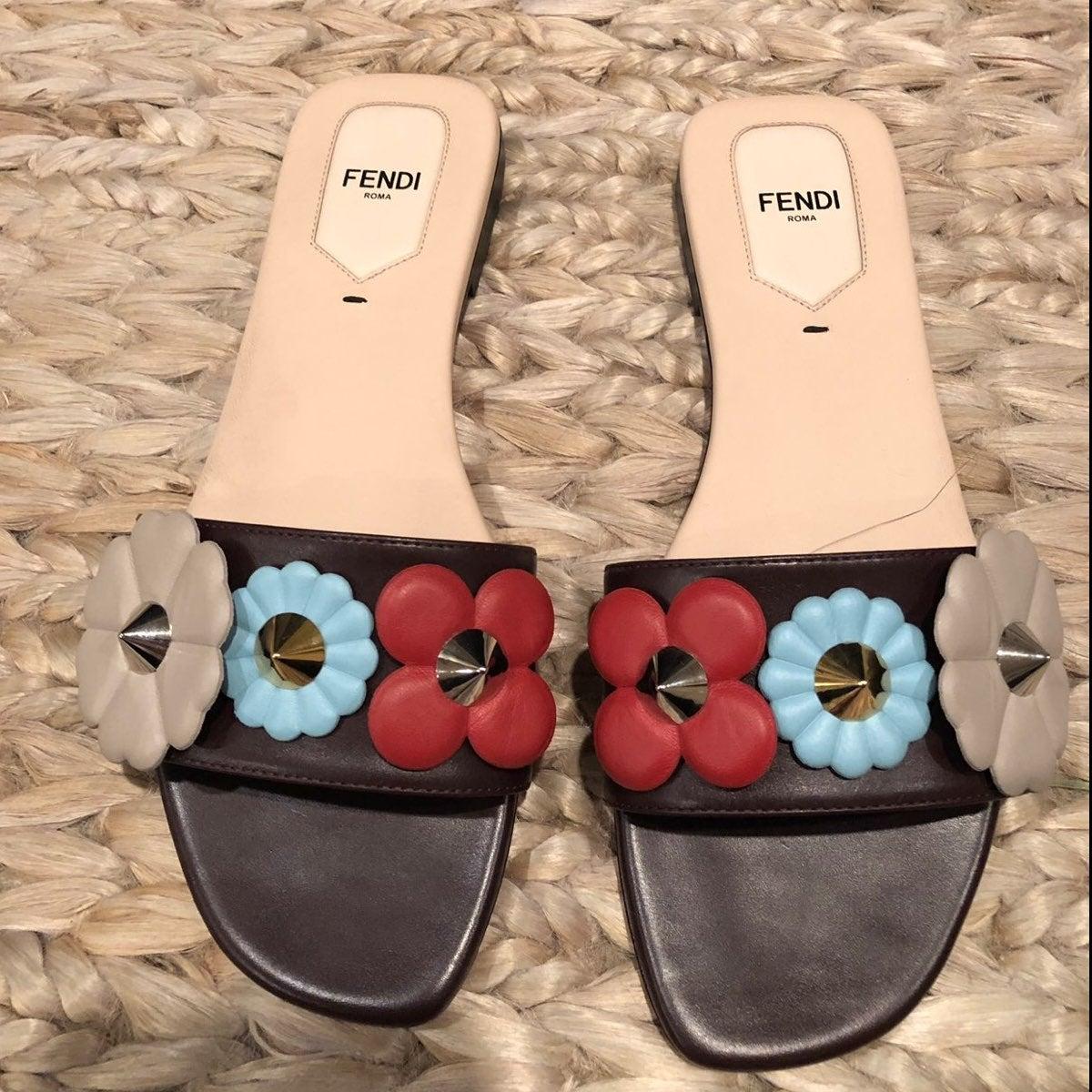 Fendi Flower Embellished Slide Sandals