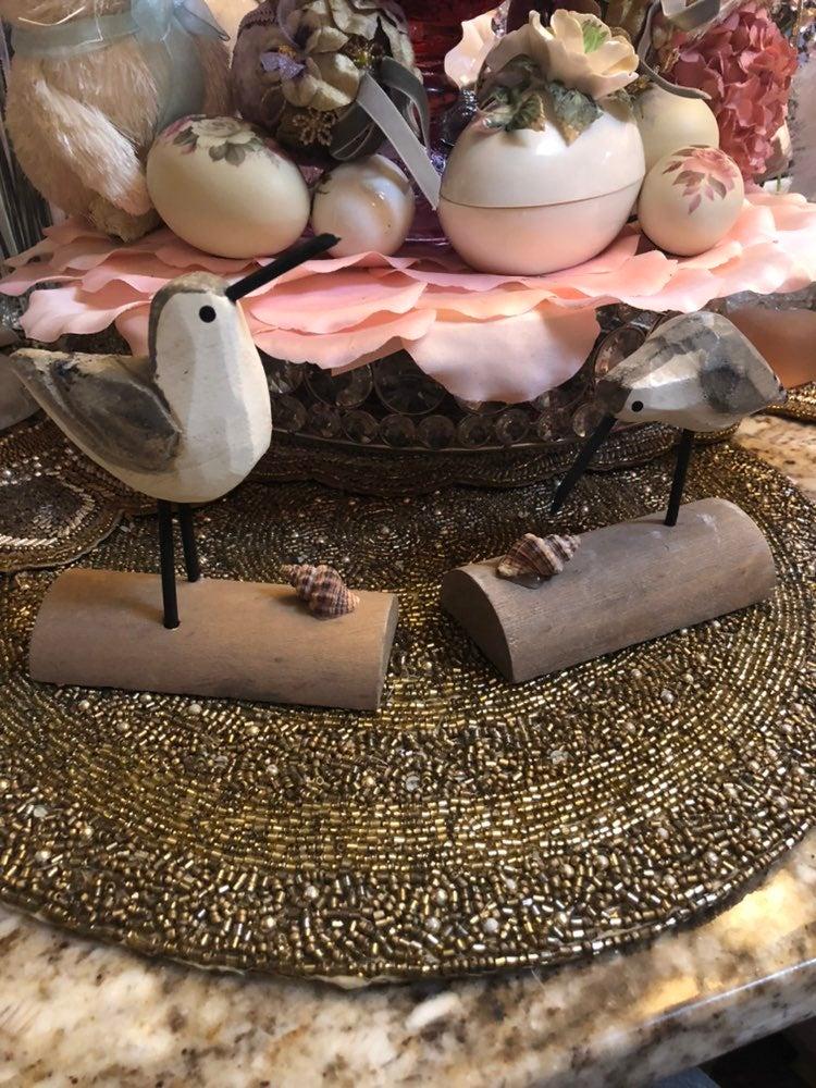 Wood handcarved Shore birds