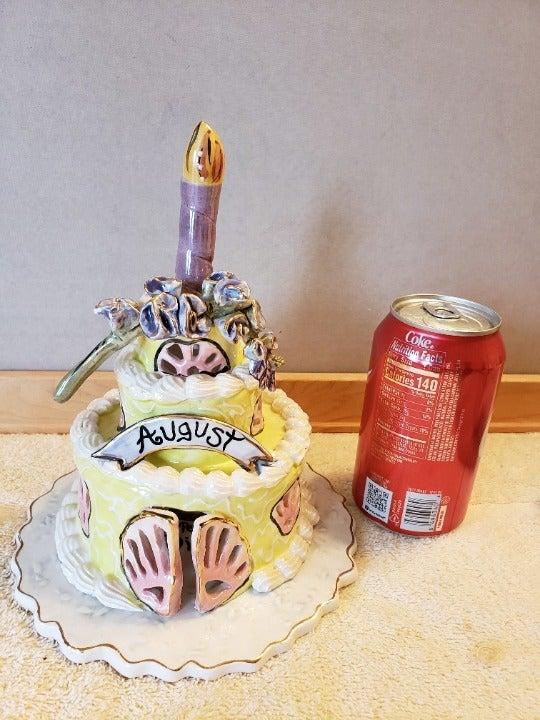 Cat Birthday Cake Tea Light Candle House Heather Goldminc Blue Sky Clayworks