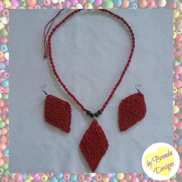 Macrame Rhombus Necklace + Earrings Set