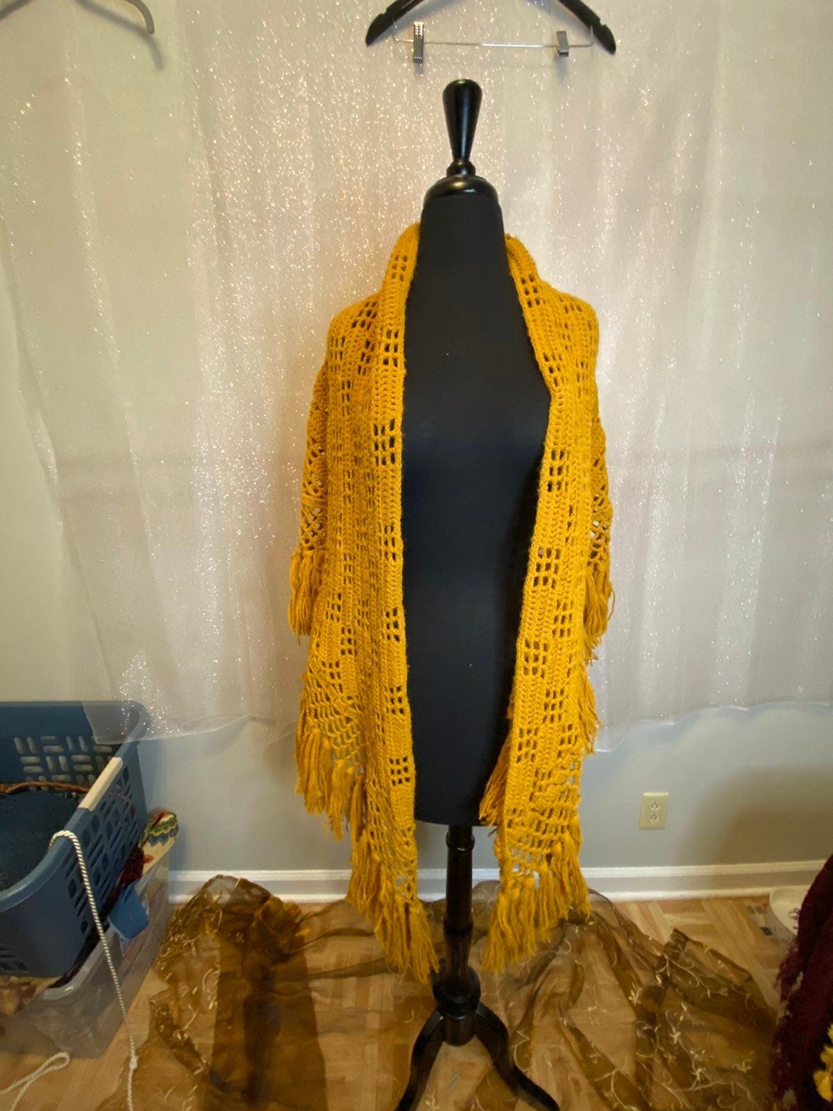 Open Knit Mustard Yellow Fringe Shawl