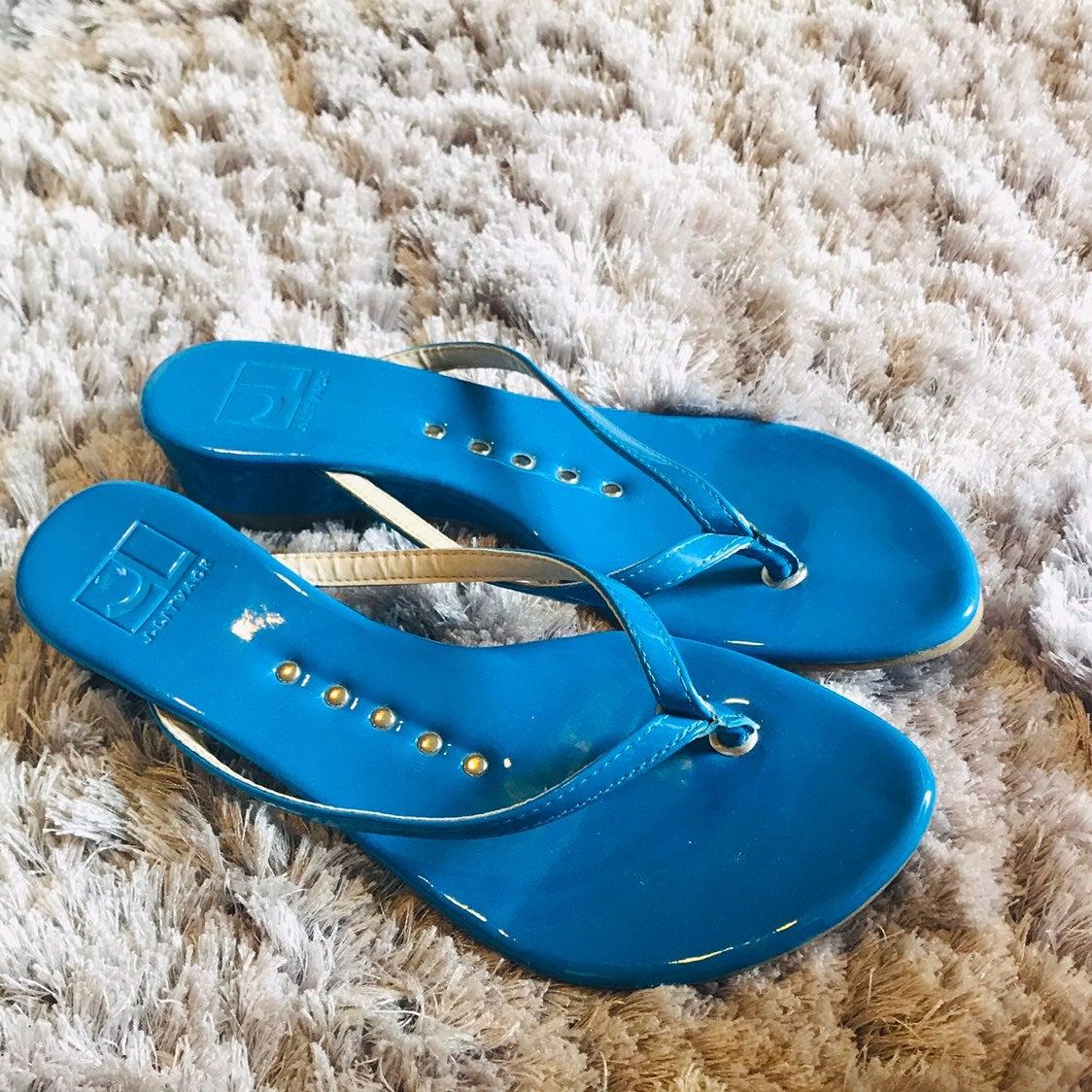 J. Litvack Blue Sandals 8.5 Designer Wom