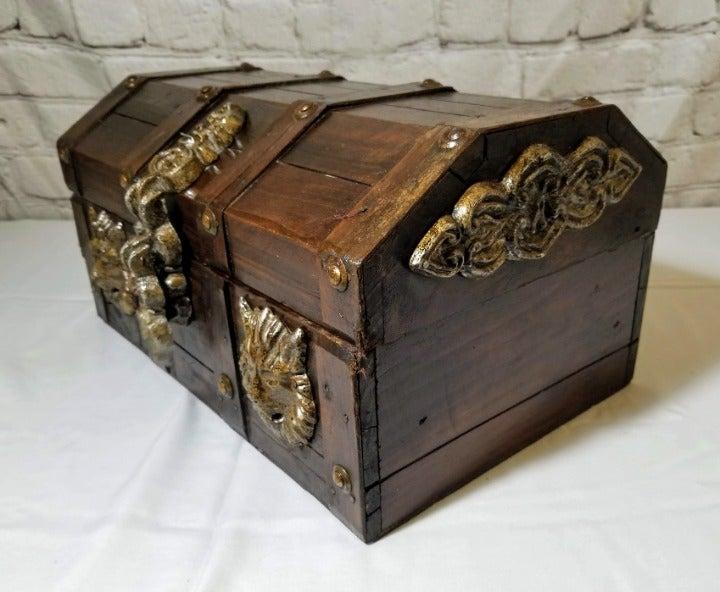 Vintage Treasure Chest Wooden Jewelry Bo
