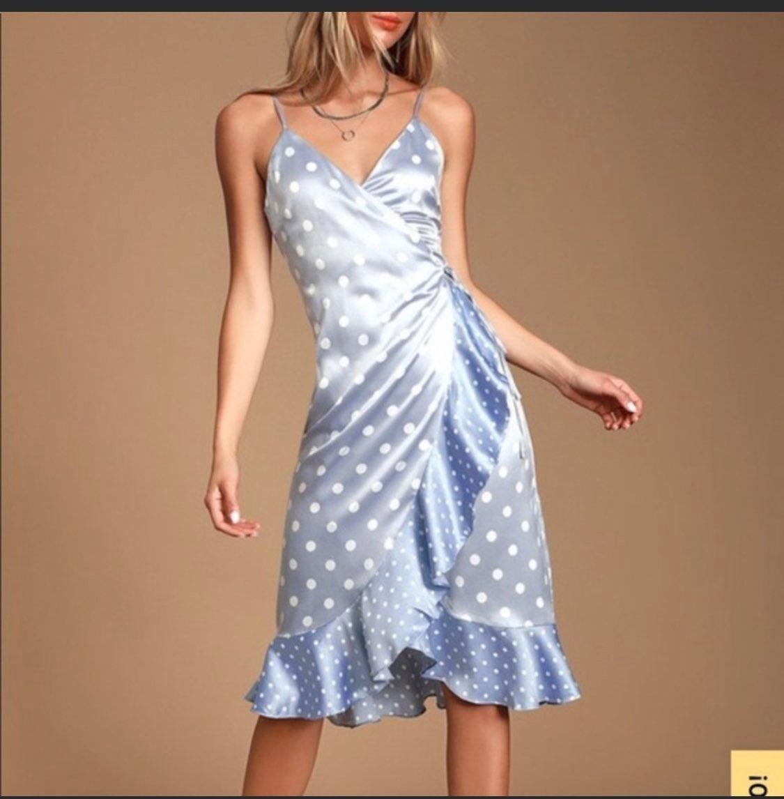 Lulu's Satin Polka Dot Wrap Dress