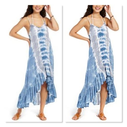 Raviya Tie-Dye Crochet-Trim High-Low BlueGray Tie-Dye M