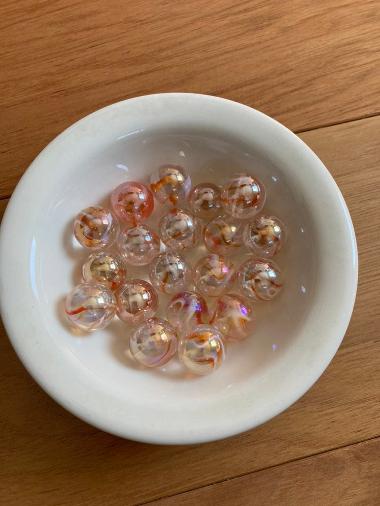 Clear Orange Vintage Marbles