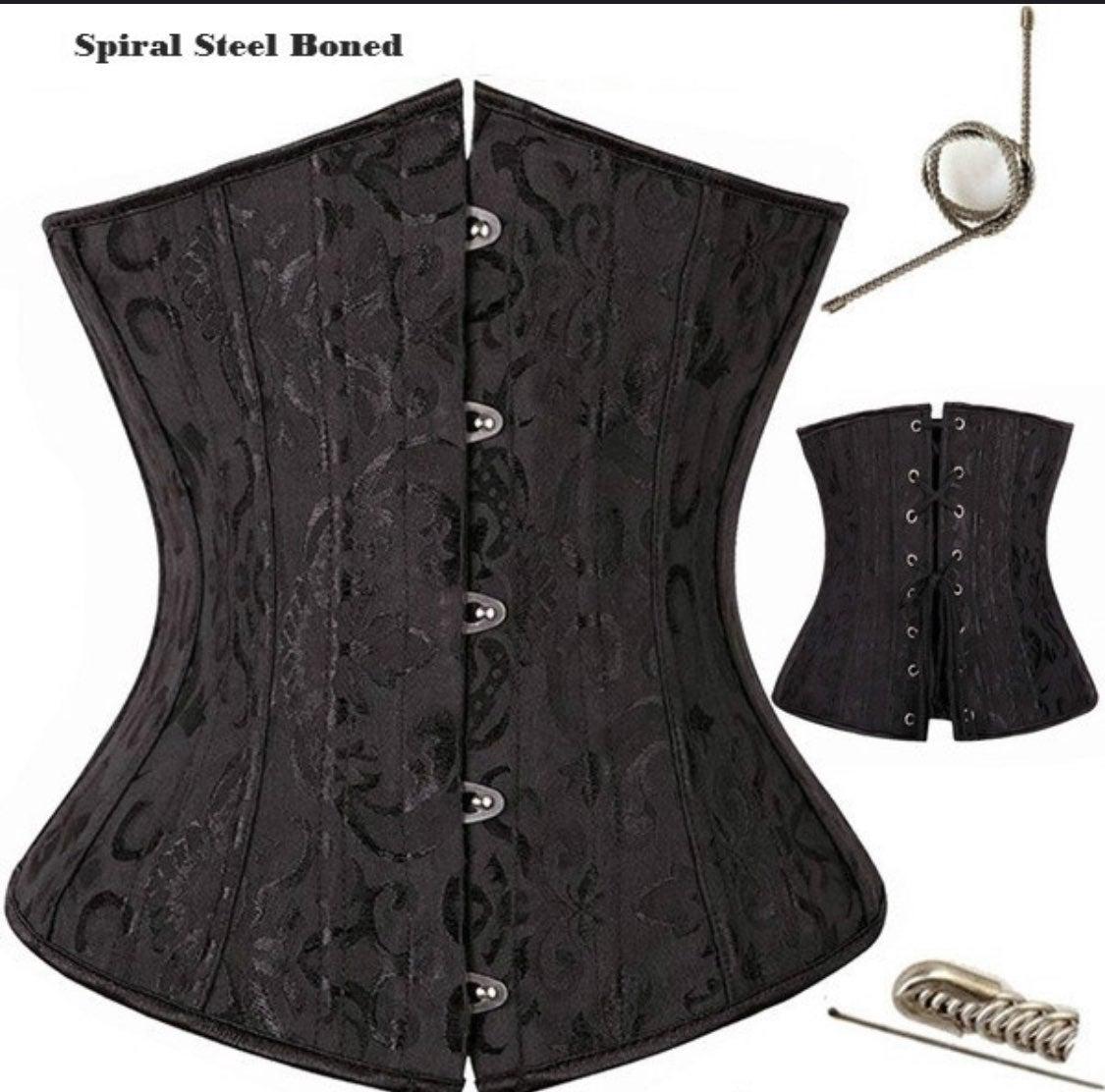 Black steel boned corset size small sexy