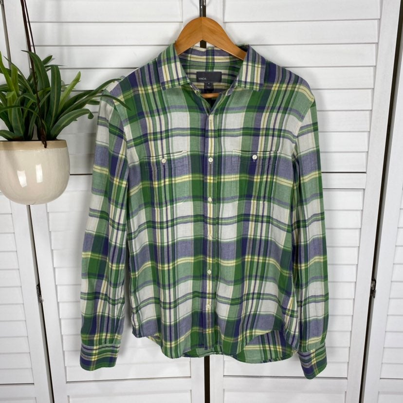 Vince. M Long Sleeve Plaid Button Shirt