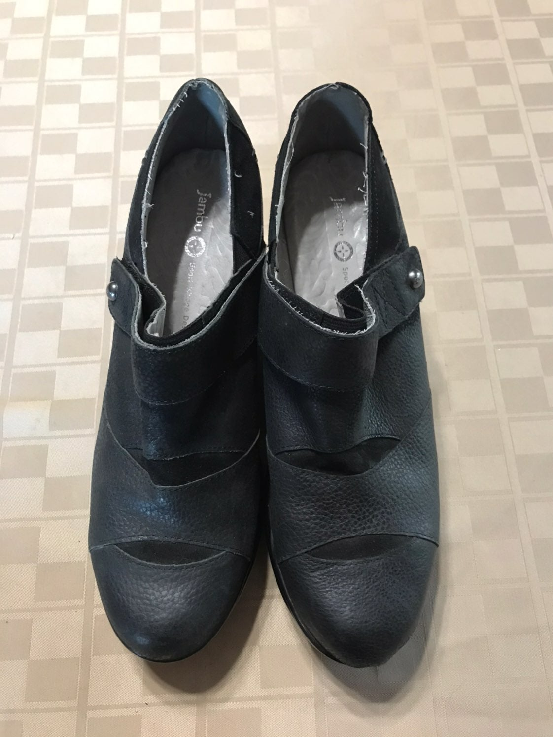 "Sport Wedge Black Leather 3.5"" Heel"