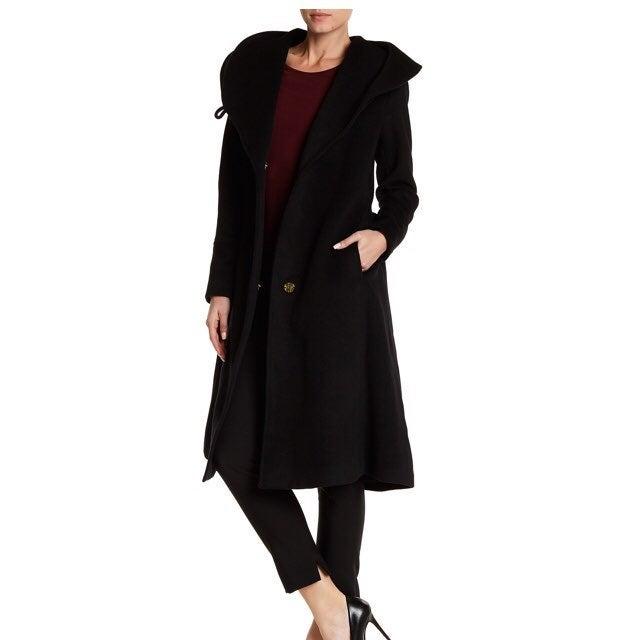 Cole Haan Black Wool Blend Long Coat 14