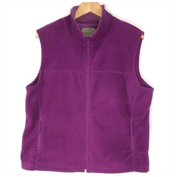 Cabelas Purple Fleece Vest Zip Front