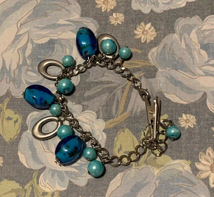 Blue Bracelet with Roach Clip