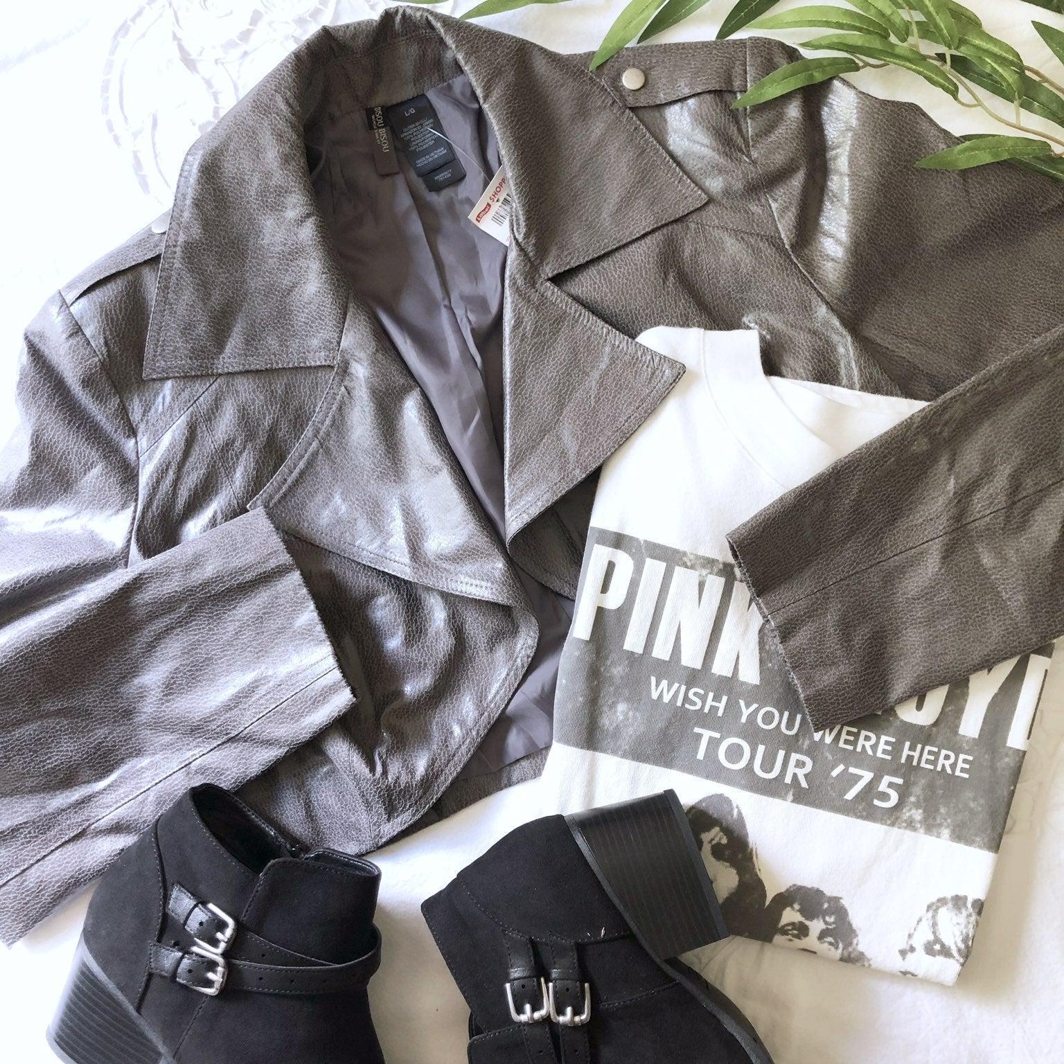 Bisou Bisou faux leather crop jacket.