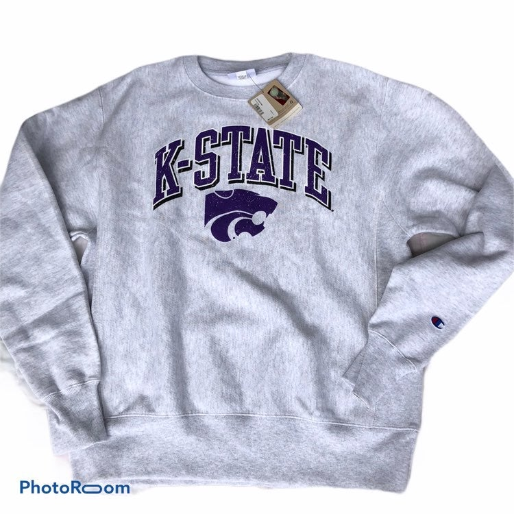 K-State Sweater Reverse Weeve Ash LS