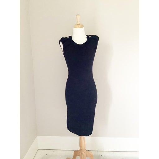 Club Monaco Black Knit Sleeveless Sheath Dress Women's XS