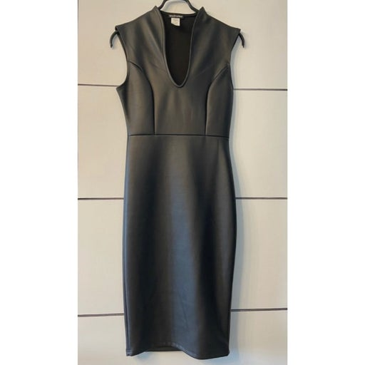 WearEver Dress Bodycon Faux Leather Slimming Sexy Form Fitting Size S