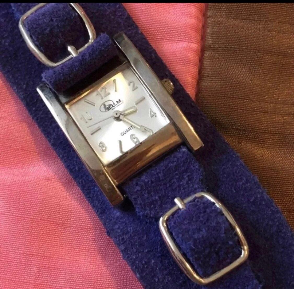 Vintage B.U.M. Watch suede strap NEW