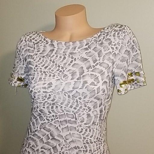 Boston Proper Leopard Print Silver Dress