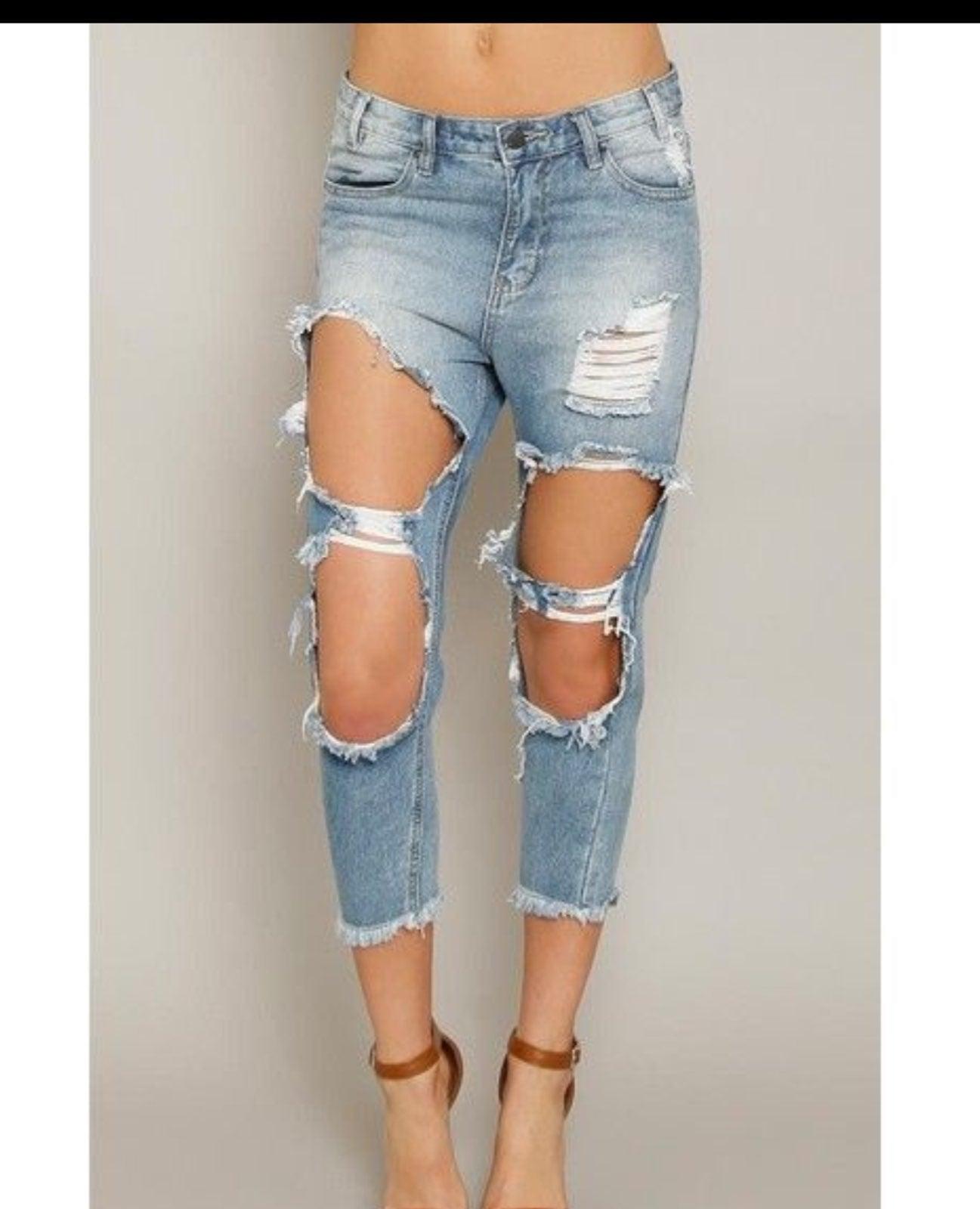 Boyfriend High Rise Denim Ripped Jeans