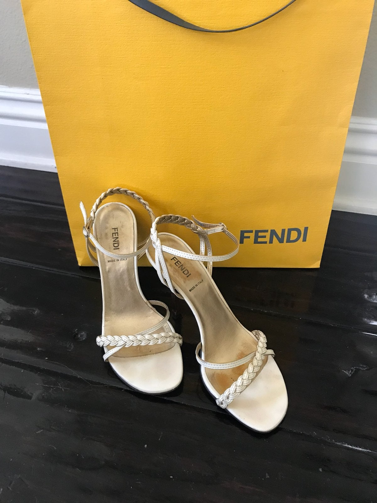 Fendi Braided Sandals Cream/Gold