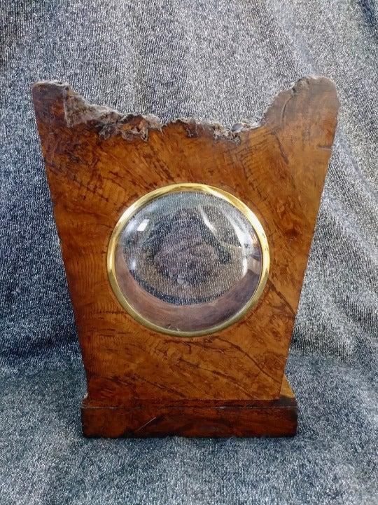 VTG 1940s Wood Burl Picture Frame Clock