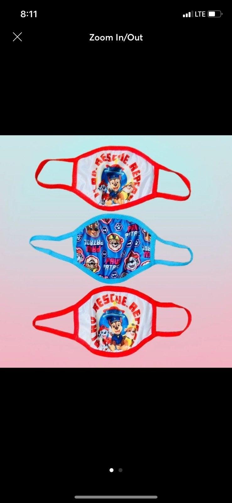 3 x Kids Paw Patrol Face Masks, NWT!