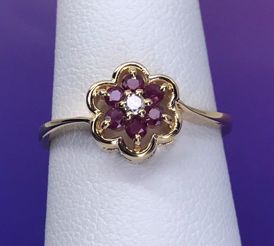 14K SOLID Gold RUBY & DIAMOND Ring