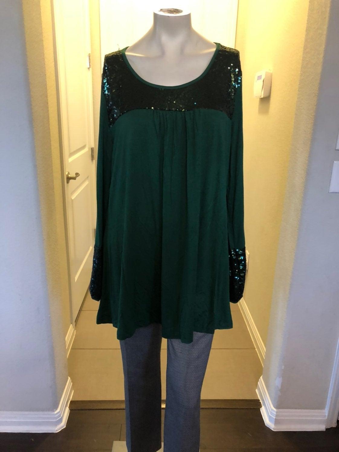 Green sequin tunic