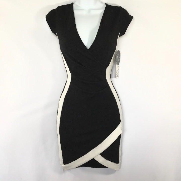Almost Famous Black & Cream Bodycon Dres