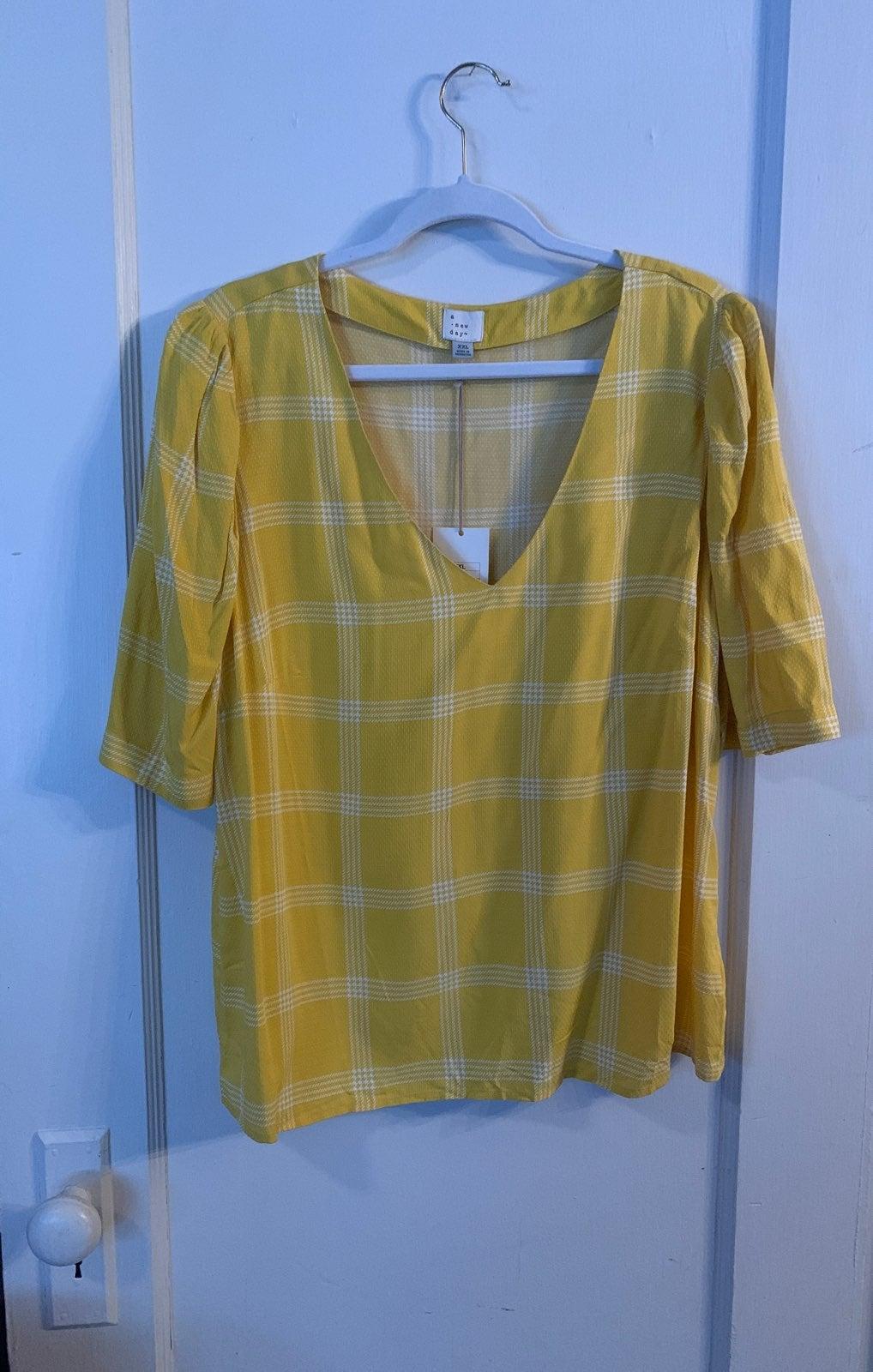 Yellow plaid blouse