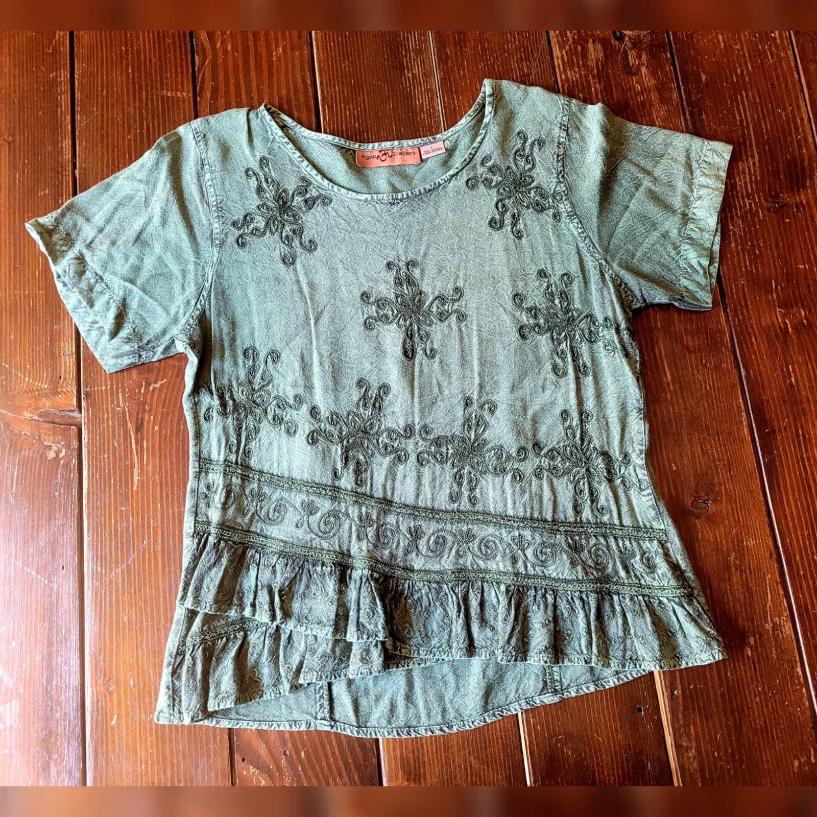 Agan Traders Green Embroidered Shirt