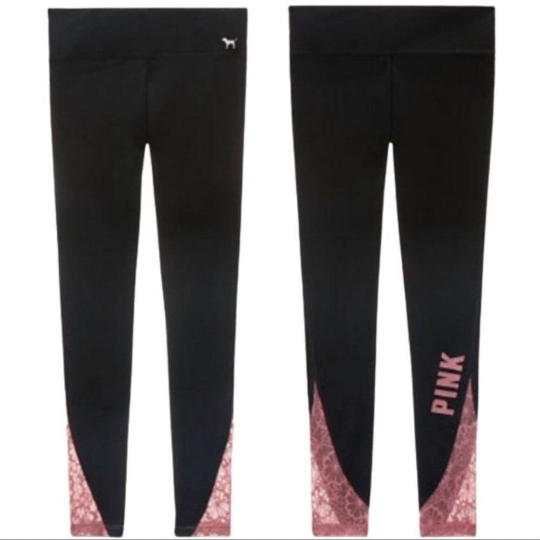 PINK Logo Lace Detail Leggings