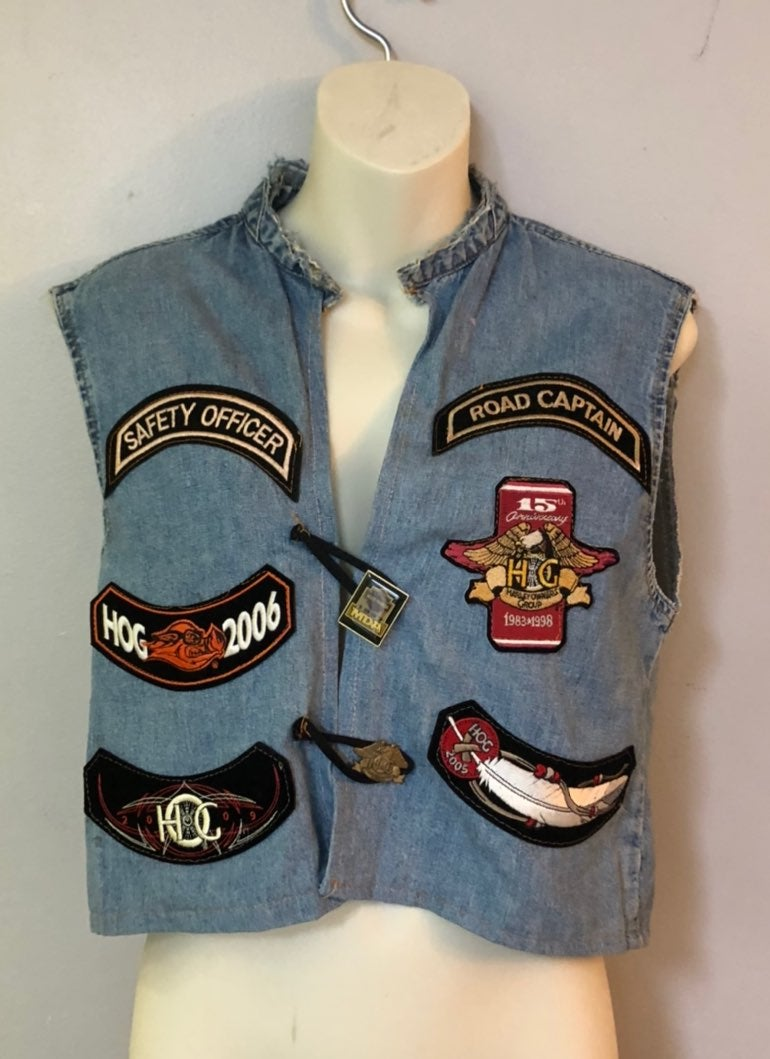 Vintage harley jean vest with patches