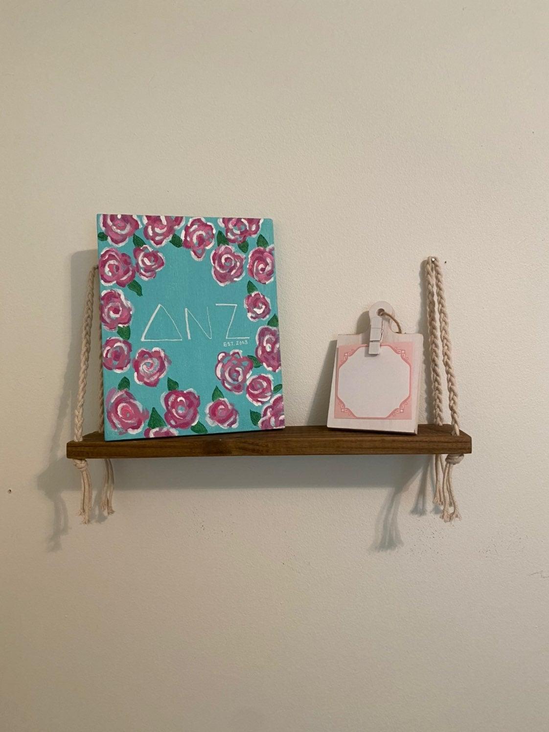 Hanging macrame shelf